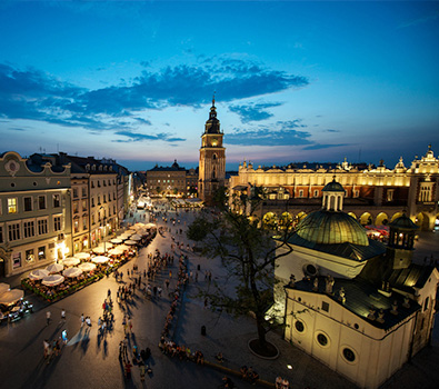 An aerial shot of Krakow by night