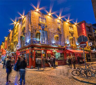 The Temple Bar pun in Dublin, illuminated at night