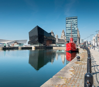 The Albert Docks with modern buildings surrounding the water