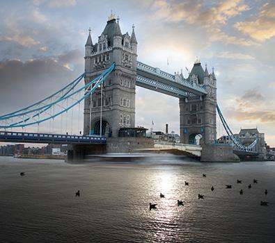 Tower Bridge under a cloudy sky