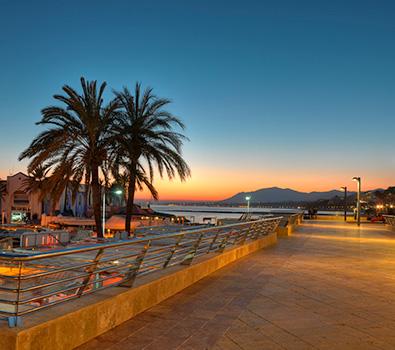 The promenade area of Marbella at dusk