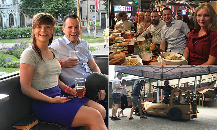 Three tiled images of LNOF staff members in Riga, one on the Olympic Bobsled