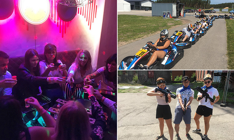 Three tiled images of LNOF team on a night out, at laser tag and on go karts outside