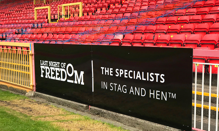 LNOF's board at Gateshead FC's ground