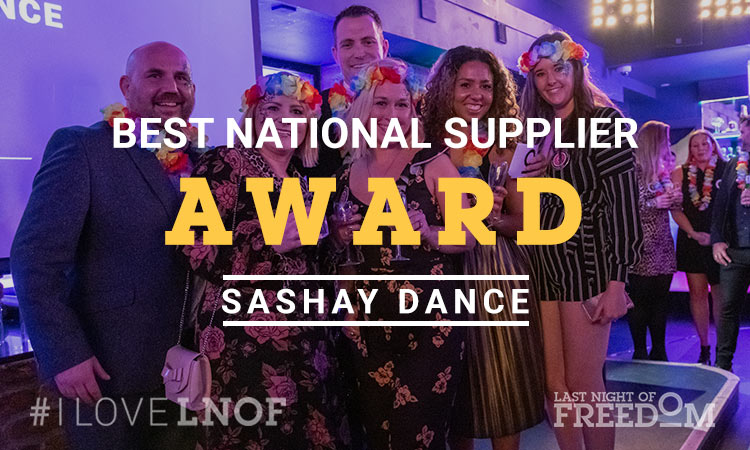 Sashay Dance's representatives with LNOF's MD, Matt Mavir, collecting their award
