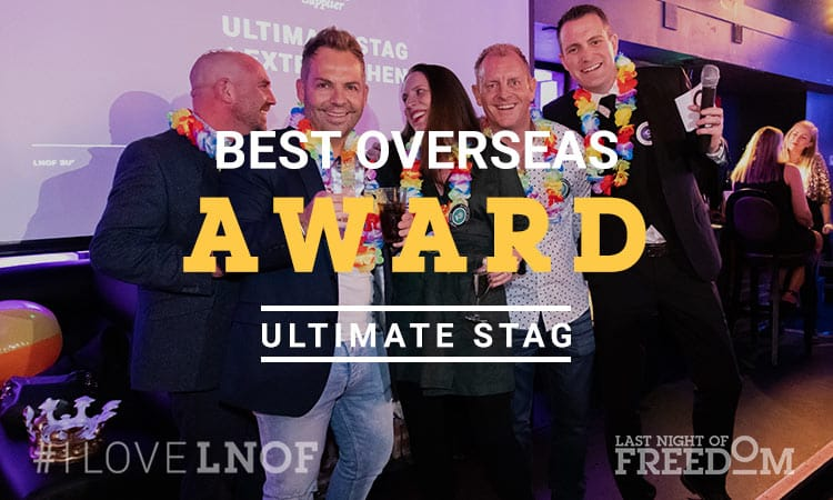 Ultimate Stag's representatives with LNOF's MD, Matt Mavir, collecting their award