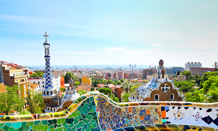 A view across Barcelona's famous colourful buildings