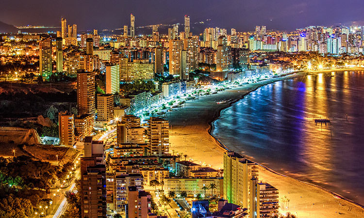 Benidorm's Levante Beach at night