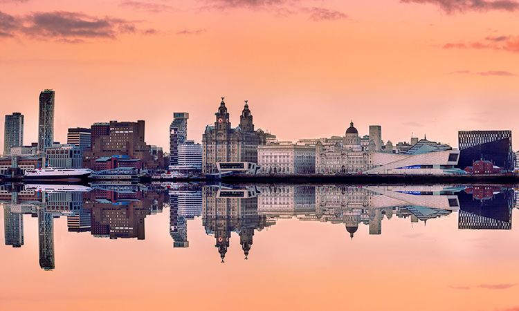 A view of the famous Liver building from across the water