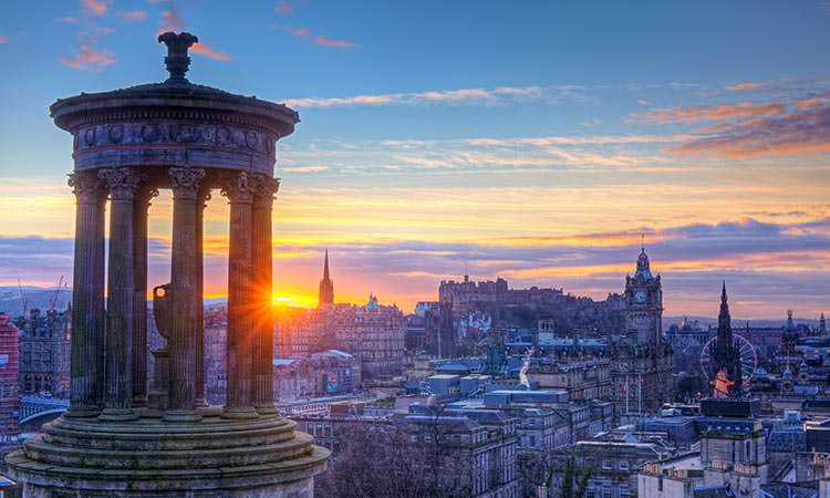 View of the Edinburgh skyline as the sun goes down.