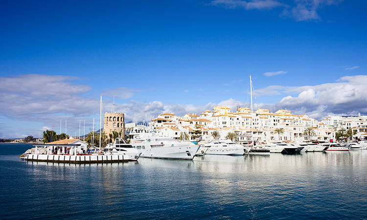 A view of the Puerto Banus marina from across the water.