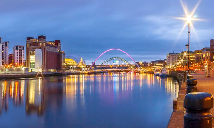 View down the river Tyne with the Millenium and Tyne Bridge in the background and Baltic Art Gallery on the left hand side
