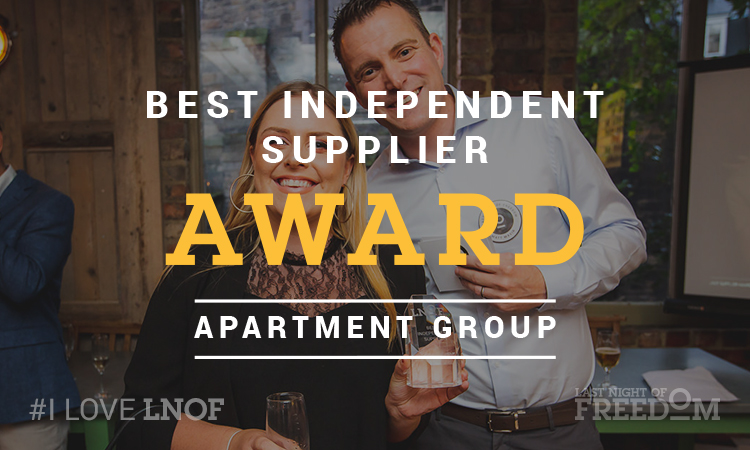 Jessica from the Apartment group collects LNOF's Best Independent Supplier Award 2019 from MD Matt Mavir