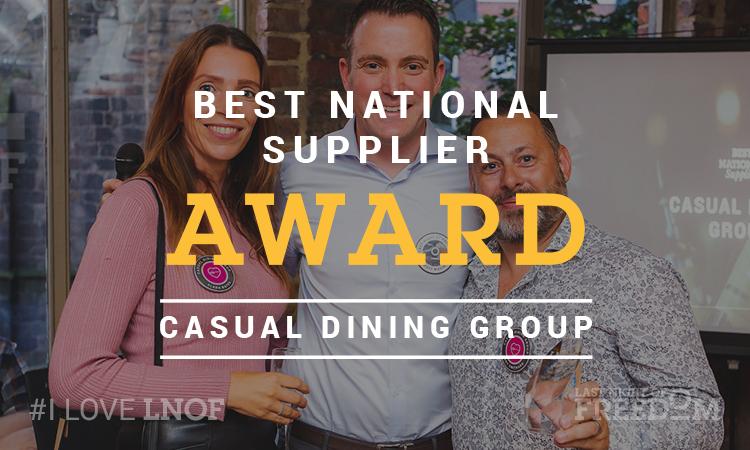 LNOF's Matt Mavir with the Best National Supplier award winning team from Casual Dining Group