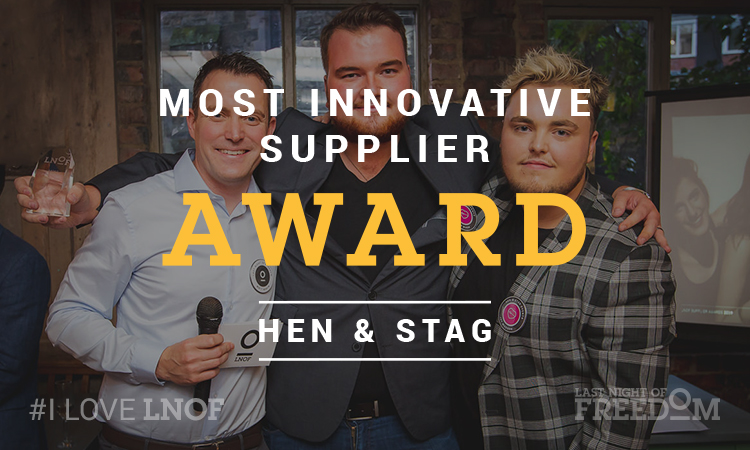 Josh and Jay from Hen & Stag Events receive the 2019 Most Innovative Supplier award from LNOF's Matt Mavir