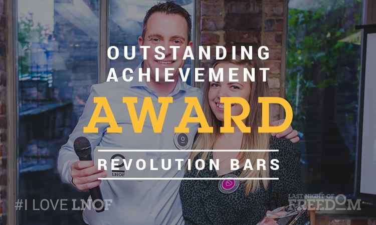 LNOF's Matt Mavir presents Emma Lusty of Revolution Bars with the Outstanding Achievement award