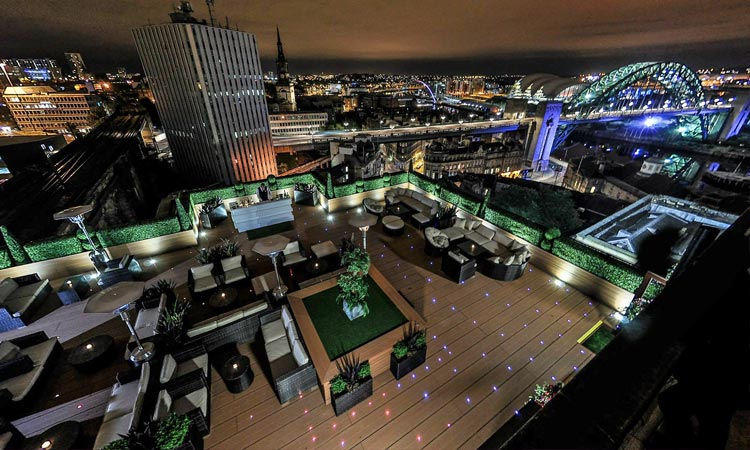 The rooftop bar at Sky Lounge, Newcastle