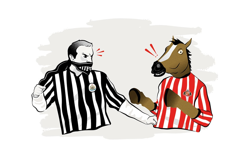 Illustration of a Newcastle United fan squaring up to a horse