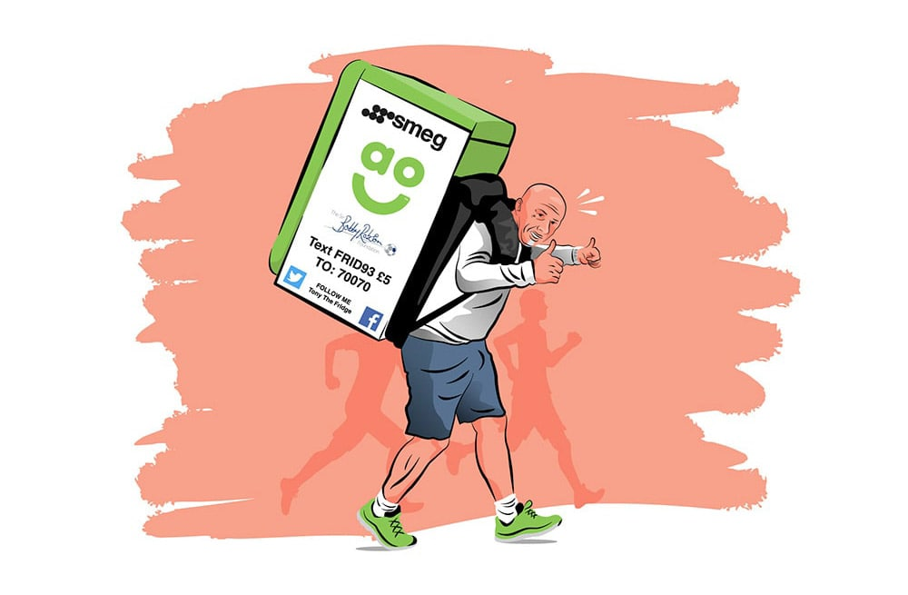 Illustration of a man running with a fridge on his back