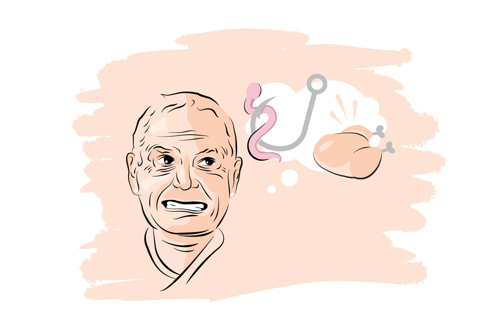 Illustration of Gazza thinking about chicken and fishing