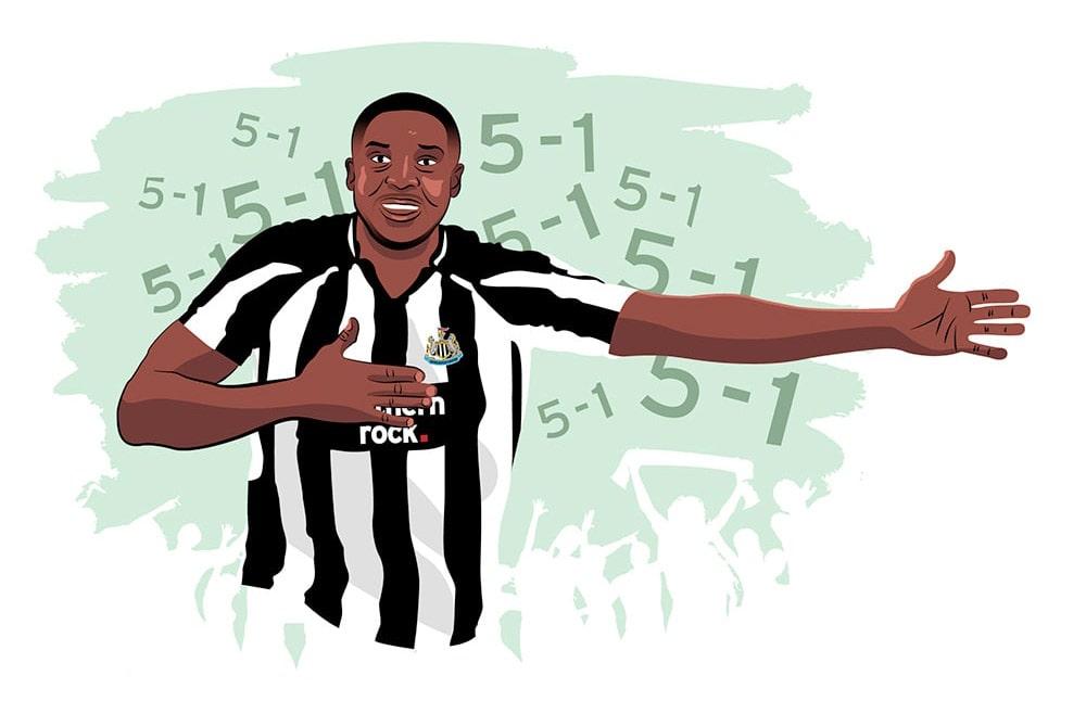 Illustration of Shola Ameobi celebrating a 5 - 1 win