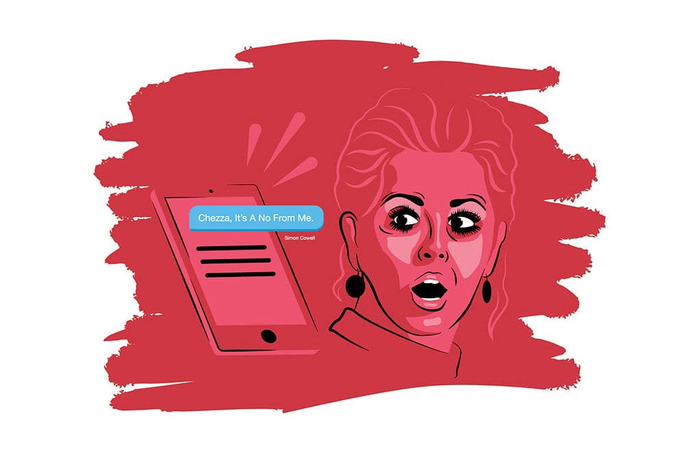 Illustration of Cheryl Cole receiving a text message from Simon Cowell