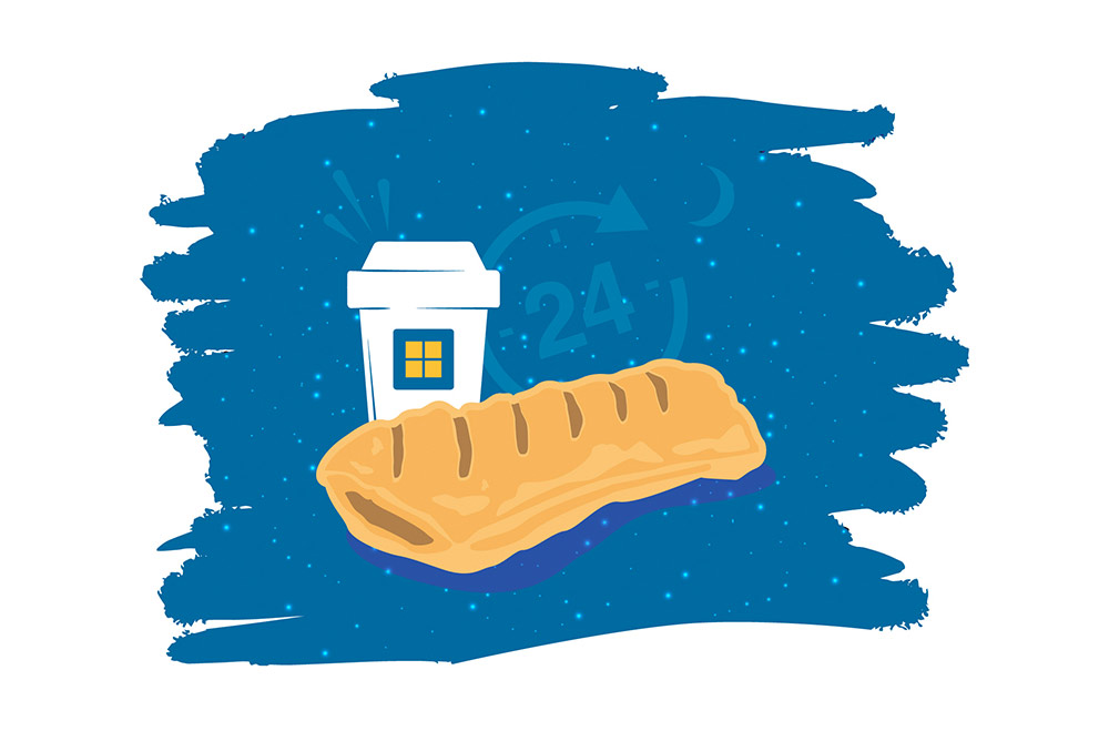 Illustration of a Greggs pasty with a 24 hour sign behind it