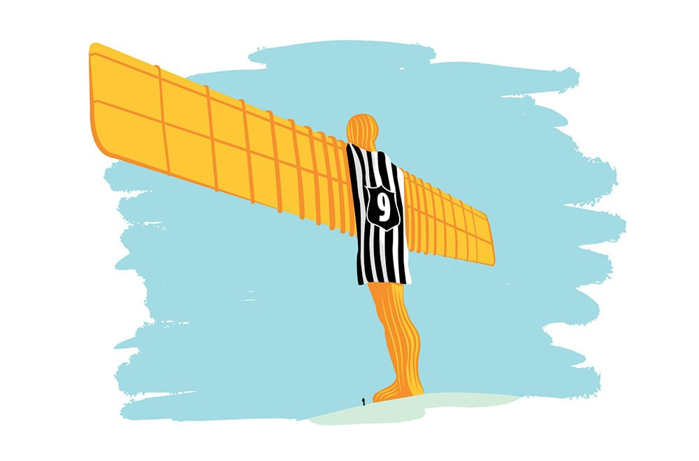 Illustration of the Angel of the North wearing a Newcastle United shirt with number 9 on the back