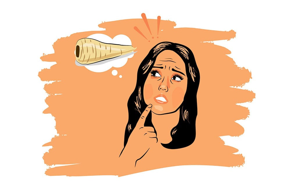 Illustration of Charlotte Crosby from Geordie Shore thinking about a parsnip