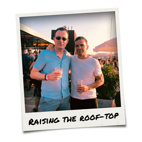 Two men at the rooftop bar, Aria Hotel Bar