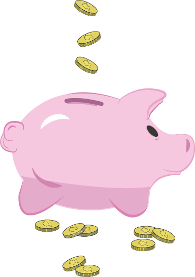 An illustration of a piggy bank with coins going into it