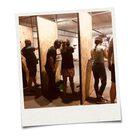 The LNOF team try out a shooting activity in Budapest