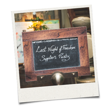 A chalkboard sign for the LNOF suppliers party