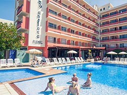 The exterior Azuline S'Anfora & Fleming Hotel with a swimming pool in the foreground