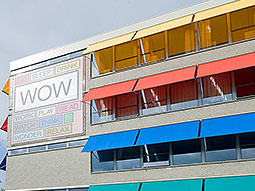 The colourful exterior of Wow Hostel in Amsterdam