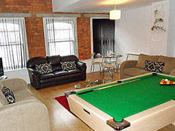 A pool table surrounded by three leather sofas