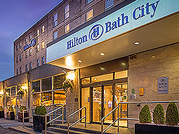 Exterior sign of the Hilton Bath City