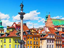 A view over colourful buildings in Warsaw