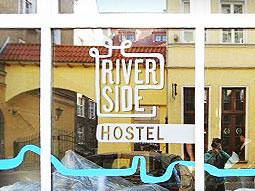 A branded piece of glass at the Riverside Hostel