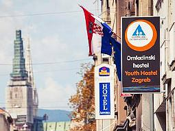Signage on the exterior of the HI Hostel Zagreb