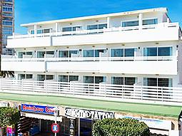 The white exterior of the Magaluf Strip Apartments