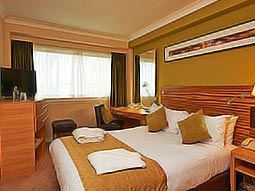 A double bed in a room with green decor and wooden interiors