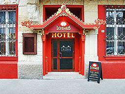The front door of the Lothus Hotel
