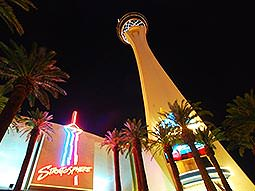 The exterior and tower of the Stratosphere Hotel