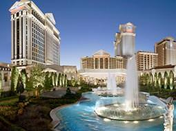 The exterior of Caesars Palace and its ornate fountains