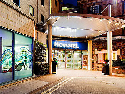 The entrance of the Novotel, Cardiff, at night