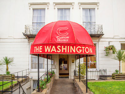 The entrance of The Washington Hotel, Bristol, during the day