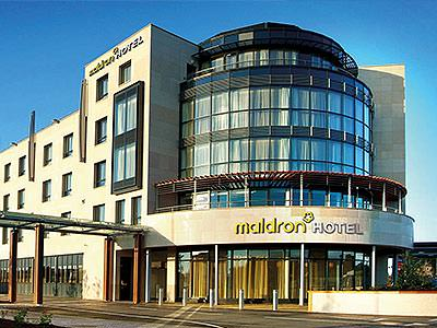 The building exterior of the Maldron Hotel Sandy Road, Galway, during the day