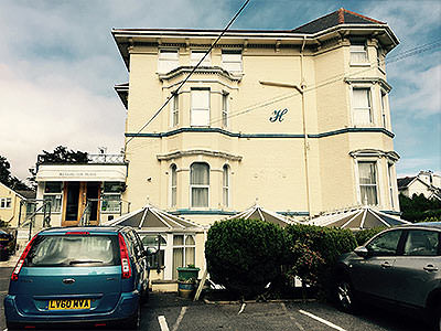 An exterior shot of the Kensington Hotel, Bournemouth