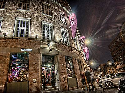 Exterior of the Euro Hostel, Newcastle, at night